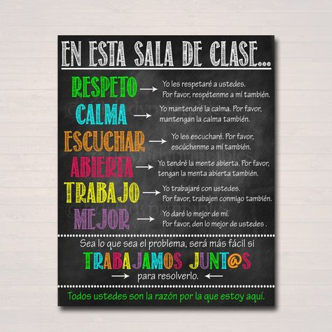 Spanish Classroom Decor - Expectations Rules Respect, Behavior Classroom Management