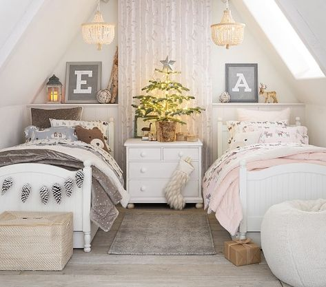 Shop Pottery Barn Kids' Reindeer Friends Shared Kids Room for shared bedroom ideas and inspiration. Find furniture, bedding and more that will be perfect for siblings sharing a room. Twin Girl Bedrooms, Sister Bedroom, Shared Bedrooms, Boy Girl Bedroom, Twin Bedroom Ideas, Boy Room, Rustic Girls Bedroom, Sibling Bedroom, Shared Boys Rooms