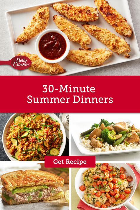 Our quick summer dinner ideas are ready in under 30 minutes and perfect for summer nights. Pin these recipes for summer meal inspiration.