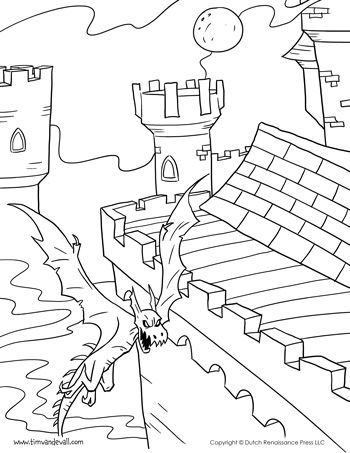 Castle And Dragon Coloring Page For Kids Coloring Coloringpage Castle Coloring Page Kids Printable Coloring Pages Printable Coloring Pages