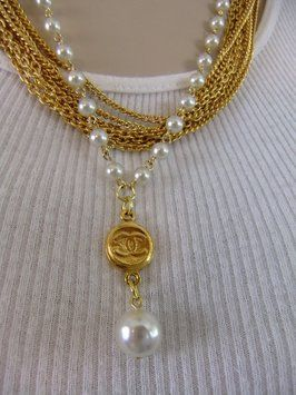 Handmade Authentic Chanel Charm Button Repurposed on a Vintage Gold and Pearl Chain Necklace