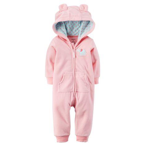 BABY BOY// GIRL Fleece Body Suit All In One Hood Ears Animal Themed Playsuit