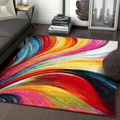 Latitude Run Brooksville Abstract Red Yellow Rug Yellow Area Rugs Area Room Rugs Area Rugs