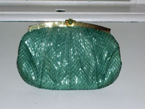 best quality for online shop official store JUDITH LEIBER: VINTAGE TEAL SNAKESKIN BUBBLE CLUTCH/CHAIN ...