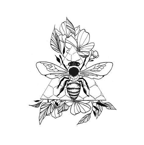 """""""Save the Bees"""" Photographic Print by GinnyKZ Bee And Flower Tattoo, Flower Tattoo Drawings, Bee On Flower, Flower Tattoos, Flower Neck Tattoo, Tattoo Sketches, Dope Tattoos, Unique Tattoos, Body Art Tattoos"""