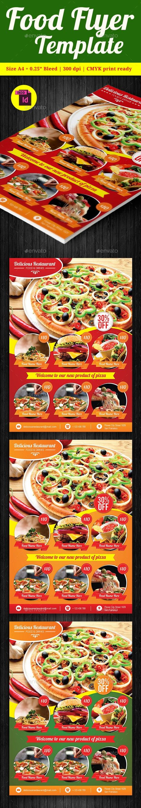 Food Flyer Template Vol. 8 — InDesign INDD #menus #print ready