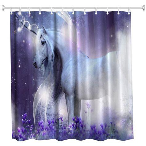 Fantasy Unicorn For Kids Bathroom Waterproof Fabric Shower Curtain Set 71inches