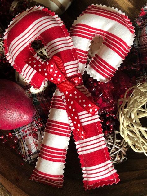 "3 Primitive Handmade Peppermint candy bowl filler 6/"" long Christmas ornaments"