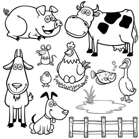 Ilustración Vectorial De Los Animales De Granja De Dibujos Animados Libro Para Colorear Animales Terrestres Para Colorear Animales De La Granja Dibujos De Animales