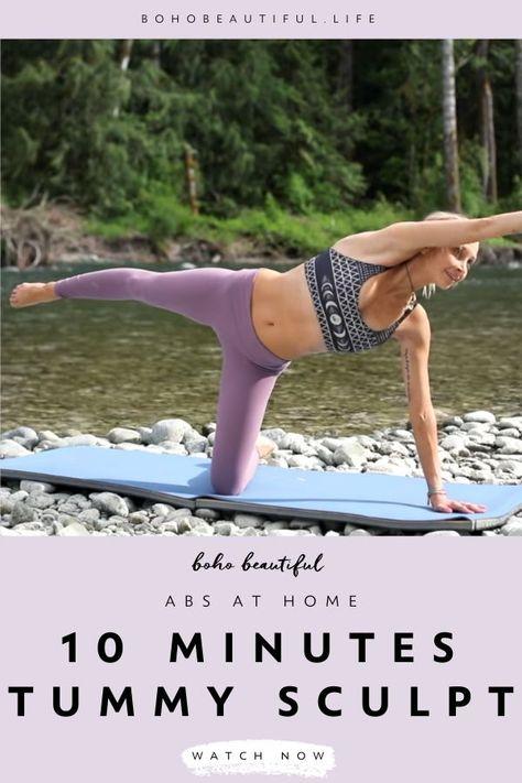 Full Body Yoga Workout, Pilates Workout Routine, Fitness Workout For Women, Waist Workout, Woman Workout, Fitness Gear, Workout Plans, Cardio, Workouts
