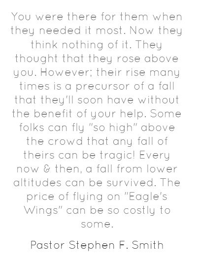 Don't fly so high that none of the rest of the birds can help you!