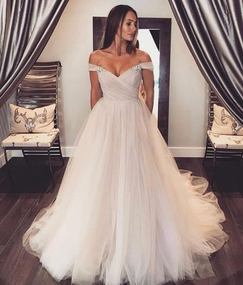 Off Shoulder Sleeves Blush Wedding Dress.The professional tailors from wedding dress manufacturer custom this ball gown wedding dress with any sizes and many other colors.Contact us to custom wedding dress online Crystal Wedding Dresses, Dream Wedding Dresses, Bridal Dresses, Wedding Gowns, Bridesmaid Dresses, Prom Dresses, Bohemian Bridesmaid, Graduation Dresses, Dress Prom
