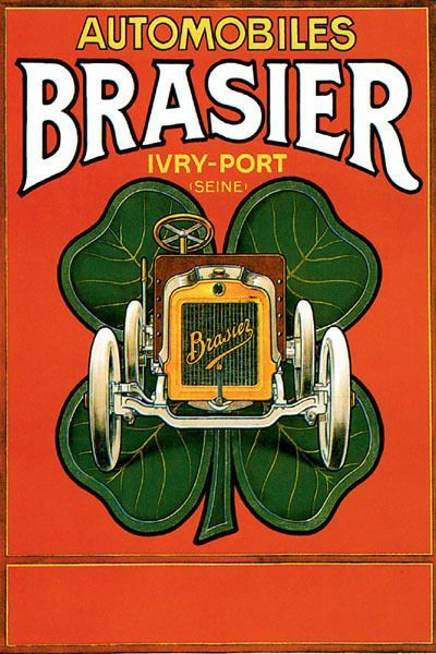 POSTER AUTOMOBILES BRASIER FRENCH CAR FOUR LEAF CLOVER VINTAGE REPRO FREE S//H