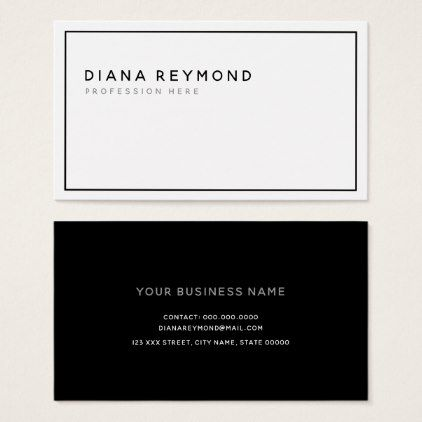 Black And White Simple Modern Professional Minimal Business Card