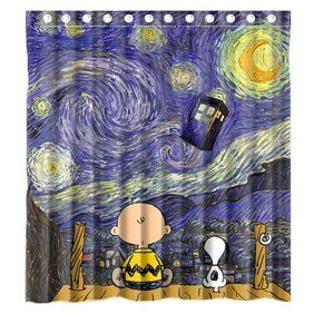Ganma Peanuts Charlie Brown Snoopy Shower Curtain Polyester Fabric
