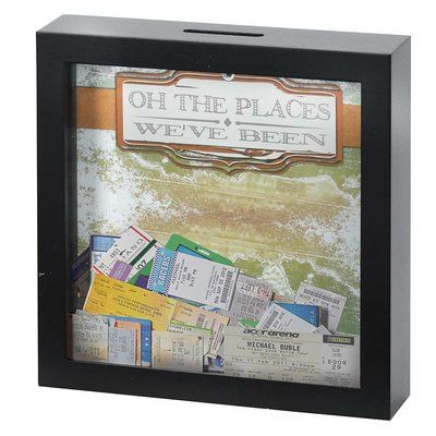 Oh the Places We've Been 7 x 7 Black Wood Framed Shadow Box Ticket Stub Holder ** Be sure to check out this awesome product. (This is an affiliate link) Travel Shadow Boxes, Wood Shadow Box, Shadow Box Memory, Travel Wall, Diy Box, Travel Gifts, Black Wood, Keepsake Boxes, Decoration