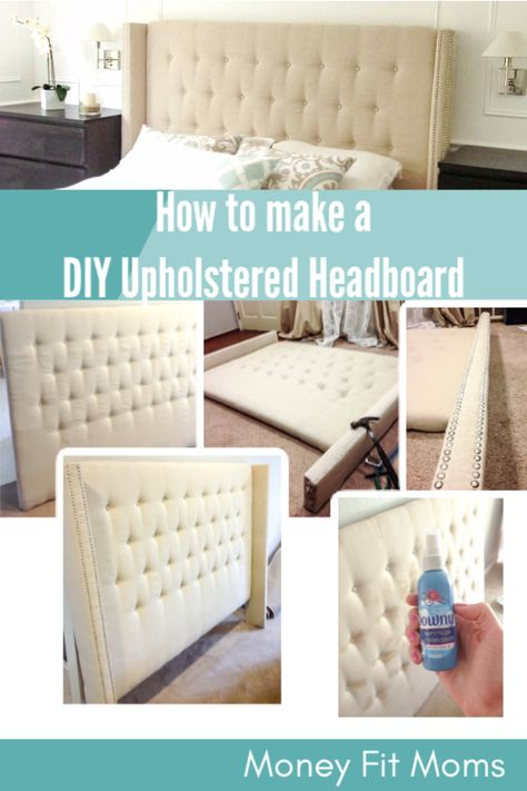 Save money by creating your own DIY Upholstered Headboard. Tips on adding the nailhead trim and securing buttons to the tufted DIY upholstered headboard. Diy Fabric Headboard, Diy Headboards, Diy King Headboard, Ikea Headboard, Headboard Ideas, Bedroom Ideas, Upholstered Beds, My New Room, Diy Furniture