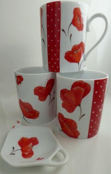 Limoges Peints Mugs Cottage Porcelaine Coquelicots À La MainPoppy kNX8n0OPw
