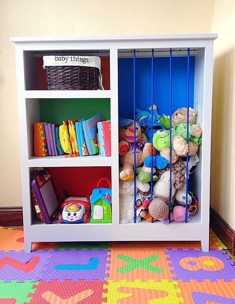 I was looking at buying one of those wooden zoos as stuffy storage, but bungee cording existing furniture is genius!  #DIY