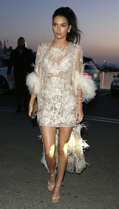 All the Glamour, Glitz and Gowns from the Cannes 2016 Red Carpet People - Kendall Jenner in a white lace Elie Saab dress