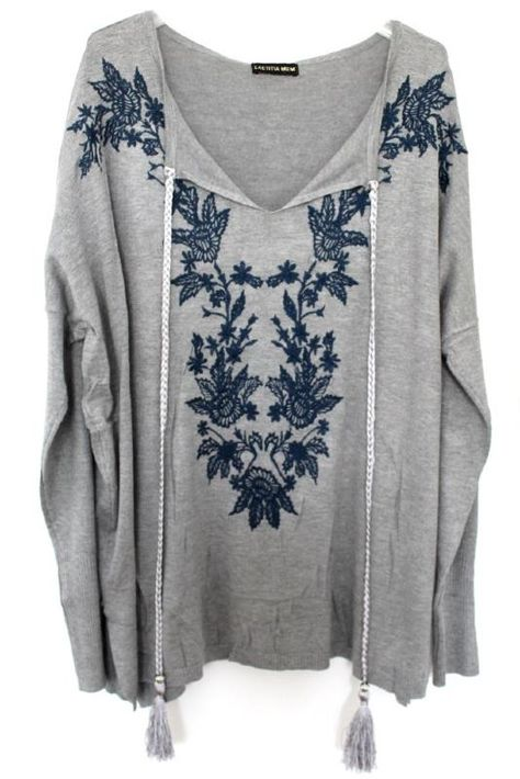 Grande taille –boheme-boho chic-bohemian-pull-pullover –sweater-pompons-plus size