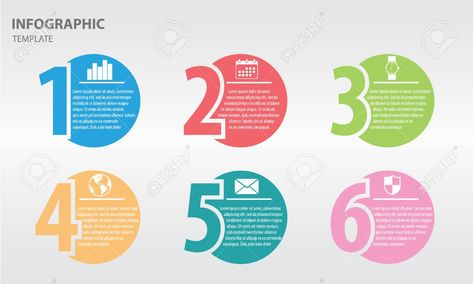 Infographic design template with numbers six option
