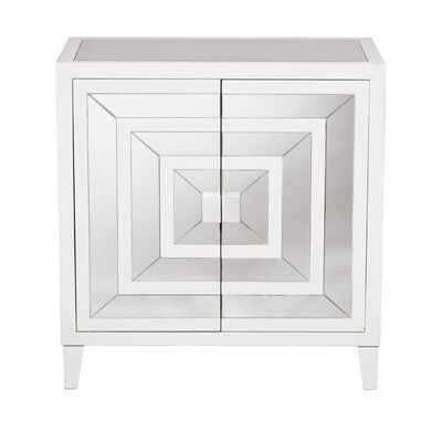 Square Mirror Overlay 2 Door Accent Cabinet Accent Doors Square Mirror Accent Cabinet