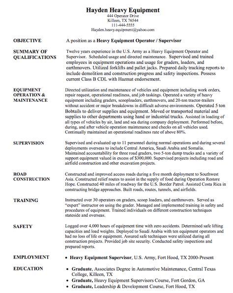 Heavy Equipment Operator Resume Impressive Operator Cv Sample