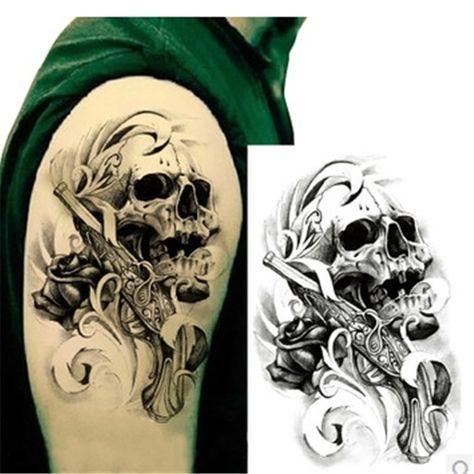 1pcs Black Death Skull Shoulder 3d Tattoo Waterproof Tattoos Men