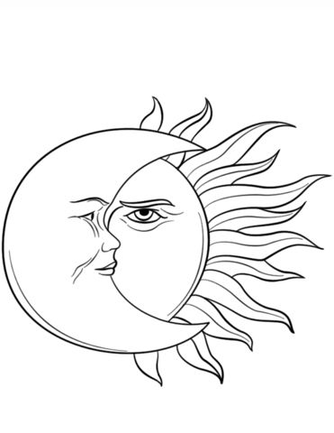 Sun and Moon Coloring page