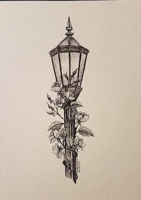 Lamp post Original 5 x 7 Ink drawing | Etsy