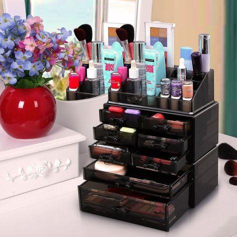 Cosmetic Tool Case Box Tray Black Makeup Organizer Drawers