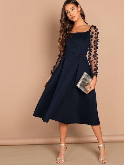 0312b3cdc6d84 Kleid mit Blumen Applikation und Plissee- German SheIn(Sheinside ...