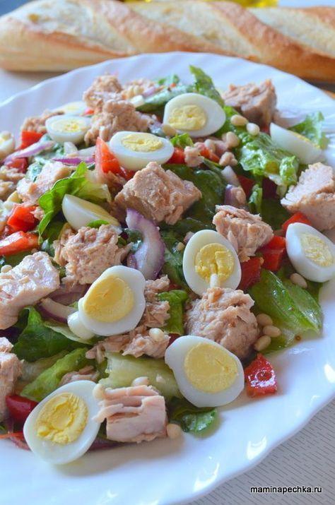 Диетический салат с консервированным тунцом — рецепт с фото пошагово | 715x474