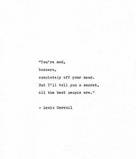 Lewis Carroll Hand Typed Quote 'Bonkers', Alice in Wonderland Print, Vintage Typewriter, Nonsense Qu