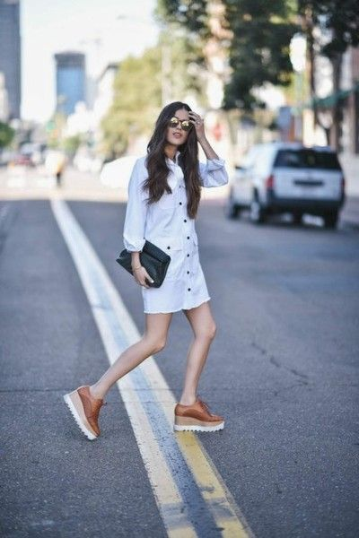 White Shirtdress - How to Wear Oxford Shoes Like the Fashion Badass You Are - Photos