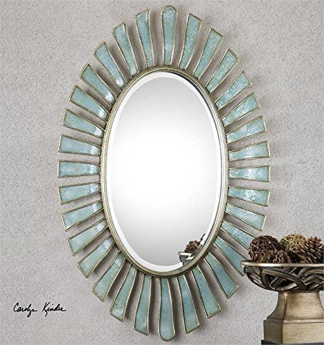 Zinc Decor Scalloped Metal Bluegray Oval Beveled Wall Mirror Large 40â Read More At The Image Link It Is An Oval Mirror Oval Wall Mirror Sunburst Mirror