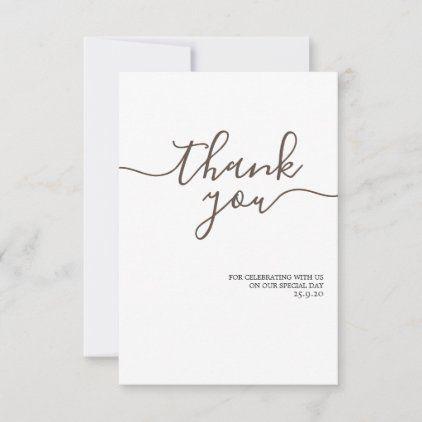 Minimalist Elegant Golden Wedding Thank You Card Zazzle Com Wedding Thank You Cards Wedding Thank You Thank You Cards