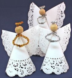 Doily angels are simple for adults and kids to put together. Make a whole choir