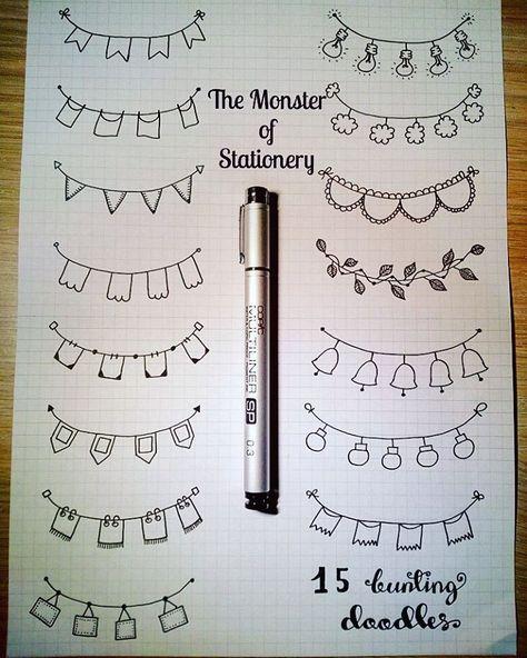 Hello everyone! Let's get back to doodles aaand here are some #buntingdoodles 😊 Enjoy! . . . #bujo #bulletjournal #bujojunkies…