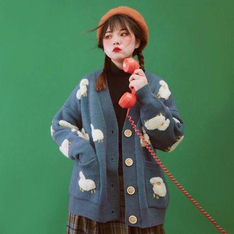 Lamb Dreams Soft Knitted Kawaii Cardigan Sweater - One Size