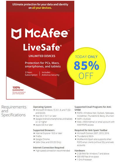 Subscription 1 Years Unlimited devices McAfee LiveSafe 2019 Antivirus