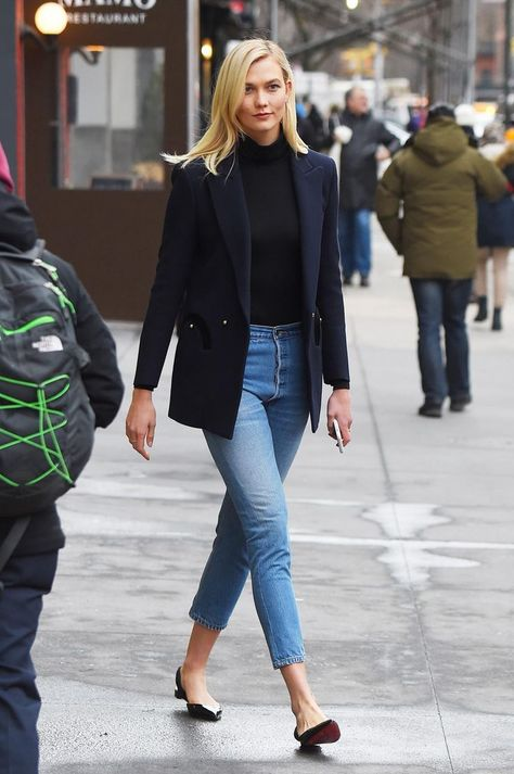 Karlie Kloss wearing Re/done Reconstructed High Waist Ankle Crop Jeans, Anita Ko Diamond Honeycomb Ring, Christian Louboutin Lahore Flats, Wolford Colorado Bodysuit in Black, Blaze Milano Resolute Wool Crepe Blazer and Iphone X Silicone Case White