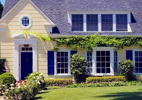 6 Gorgeous Exterior Paint Combinations Best Pick Reports Yellow House Exterior House Exterior Blue House Paint Exterior