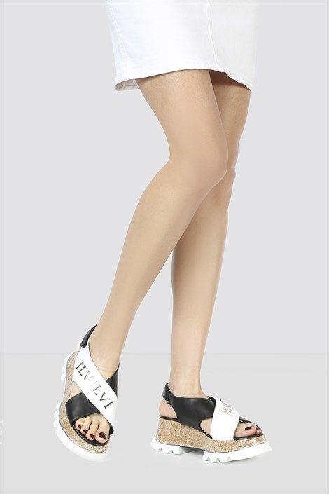 Oneta Bayan Sandalet Beyaz Siyah Ilvi Bayan Ayakkabi Sandalet Siyah Deri