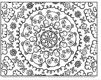 Pandacorn Mandala Doodle Printable Cute Kawaii Coloring Page For Kids And Adults Coloring Pages Coloring Pages For Kids Doodle Coloring