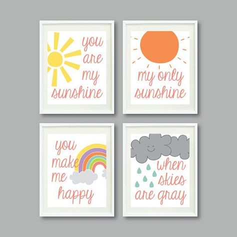 You Are My Sunshine -Set of Four Prints for Kids Room, Nursery, Home Decor-11x14-Rainbow/Sun/Clouds-Yellow-Coral-Grey-Mint-Purple-Blue-Green