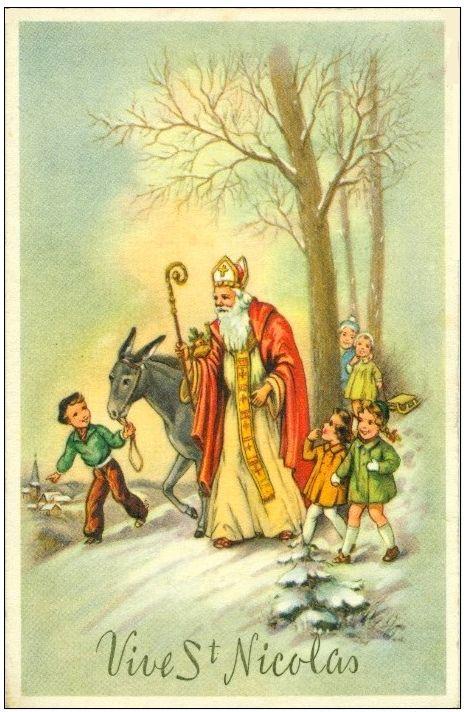 Carte Illustree Vive Saint Nicolas Sinterklaas Sint Nicolaas