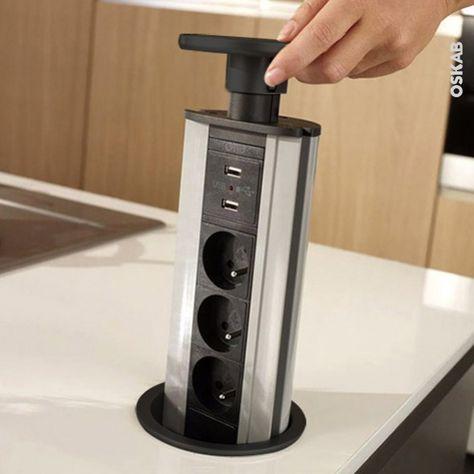 Accessoire cuisine gain de place, bloc 3 prises (alimentation petit electromenager) + 2 prises USB (pour charger téléphone et tablette), bloc extractible du plan de travail - www.oskab.com