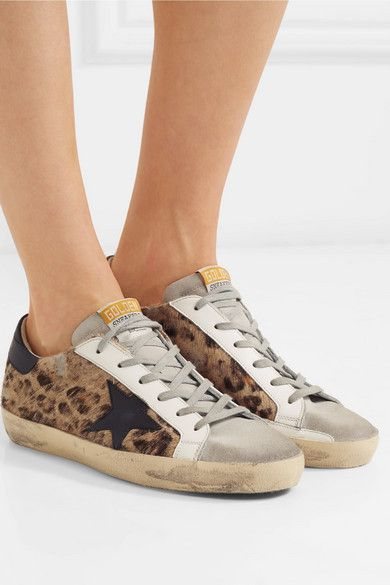 Leopard Print Superstar Distressed Leopard Print Calf Hair Leather And Suede Sneakers Golden Goose Calf Hair Golden Goose Deluxe Brand Sneakers
